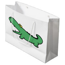 Funny cartoon green crocodile large gift bag