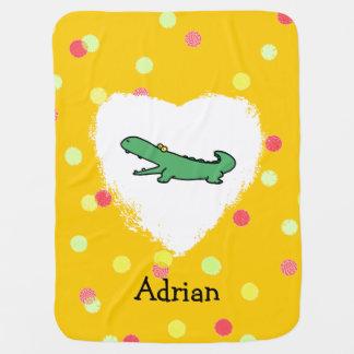Funny cartoon green crocodile receiving blanket