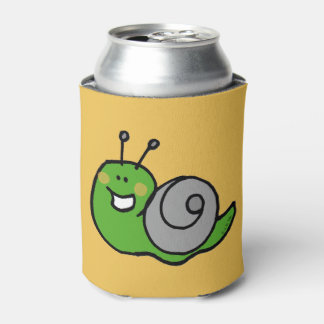 Funny cartoon green snail can cooler
