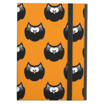 funny cartoon halloween owl over yellow backgroud cover for iPad air