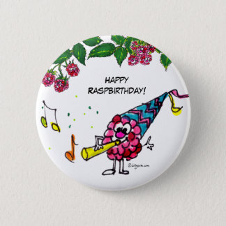 Funny Cartoon Happy Birthday Button Pin