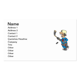 Funny Cartoon Hockey Player T-shirts and Gifts Business Card