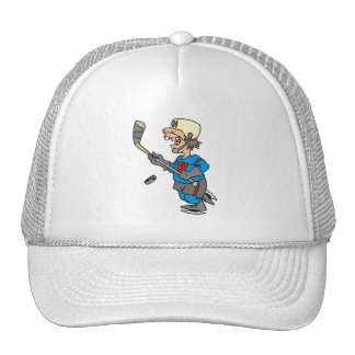 Funny Cartoon Hockey Player T-shirts and Gifts Mesh Hat