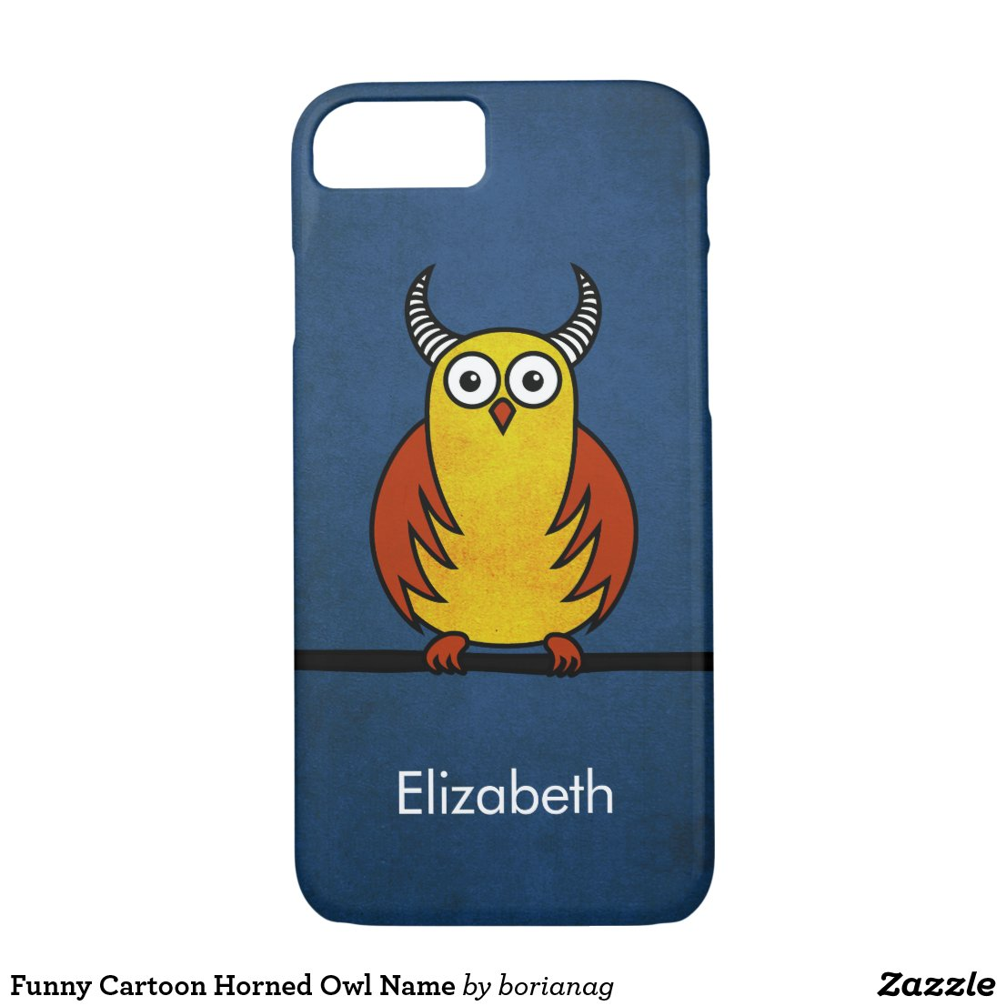 Customizable name iPhone case with a funny horned owl. This case can be customized for other devices, too.