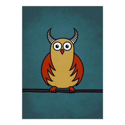 Funny Cartoon Horned Owl Poster