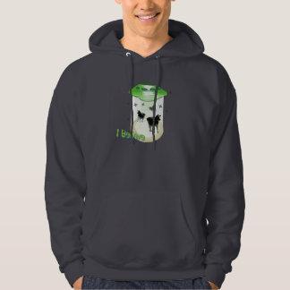 Funny Cartoon I Believe UFO Cows Abduction Aliens Hoodie