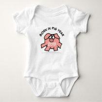 Funny Cartoon Illustration Pink Pig New Baby 2019 Baby Bodysuit