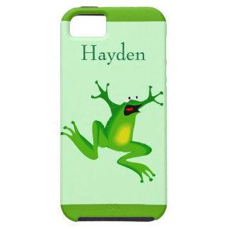 Funny Cartoon Jumping Frog Kids Custom Name iPhone SE/5/5s Case