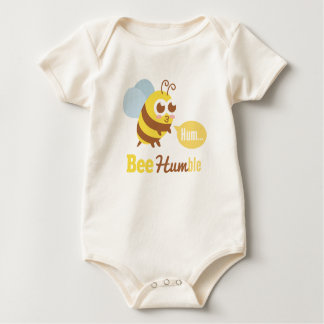 Funny Cartoon: Kawaii Yellow & Brown Bee Humming Baby Bodysuit