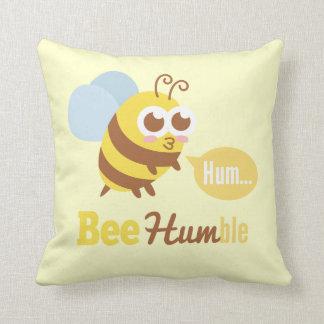 Funny Cartoon: Kawaii Yellow & Brown Bee Humming Throw Pillows