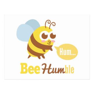 Funny Cartoon: Kawaii Yellow & Brown Bee Humming Postcard
