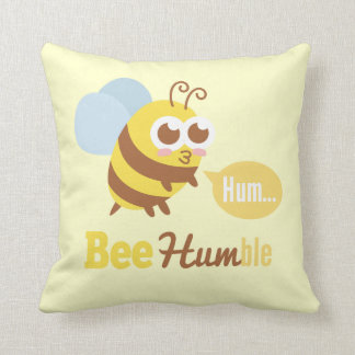 Funny Cartoon: Kawaii Yellow & Brown Bee Humming Throw Pillow