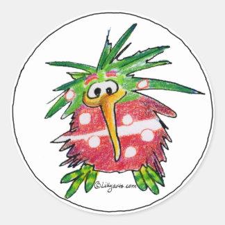 Funny Cartoon Kiwi Bird Round Sticker