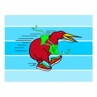 Funny Cartoon Kiwi Bird Wearing Red Running Shoes Postcard