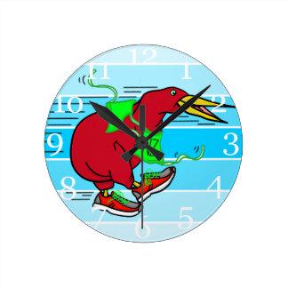 Funny Cartoon Kiwi Bird Wearing Red Running Shoes Round Clock