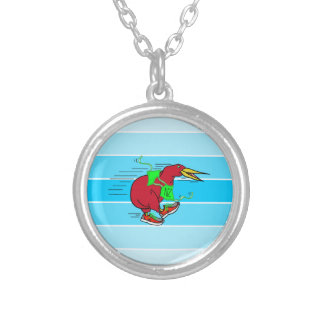 Funny Cartoon Kiwi Bird Wearing Red Running Shoes Round Pendant Necklace
