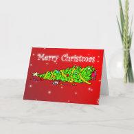 Funny Cartoon Merry Christmas Tree Card