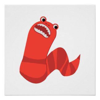 Funny Cartoon Mongolian Death Worm Poster