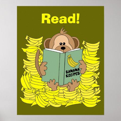 Funny Cartoon Monkey Reading Poster for Teachers