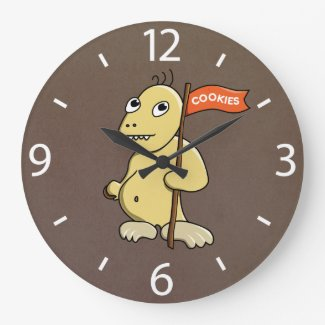 Funny Cartoon Monster With Cookie Large Clock