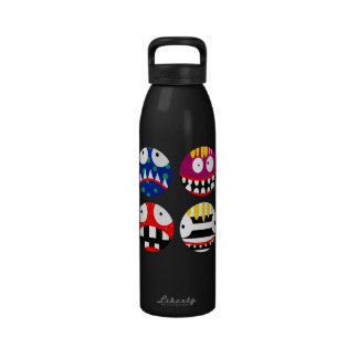 funny cartoon monsters happy smile smiley faces reusable water bottle