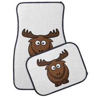 Funny Cartoon Moose Car Floor Mat