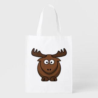 Funny Cartoon Moose Grocery Bag