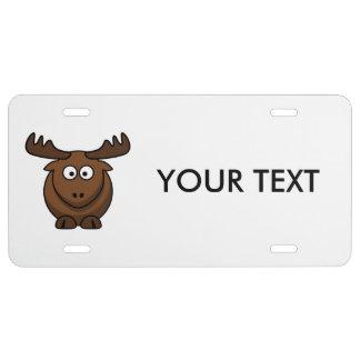Funny Cartoon Moose License Plate
