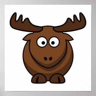 Funny Cartoon Moose Poster