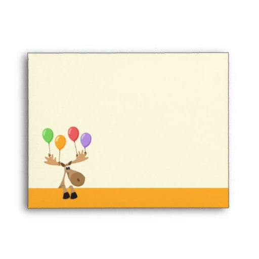 Funny cartoon moose with balloons - yellow envelope