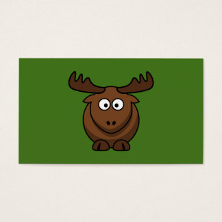 Funny Cartoon Moose with Green Background Business Card