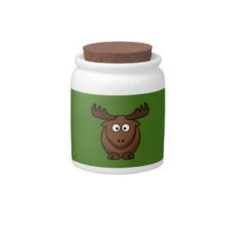 Funny Cartoon Moose with Green Background Candy Dish