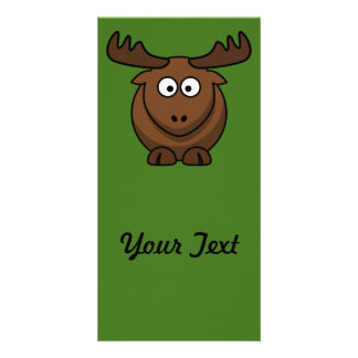 Funny Cartoon Moose with Green Background Card