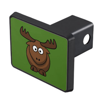 Funny Cartoon Moose with Green Background Hitch Cover