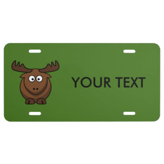 Funny Cartoon Moose with Green Background License Plate
