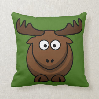 Funny Cartoon Moose with Green Background Pillow