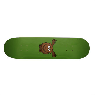 Funny Cartoon Moose with Green Background Skateboard