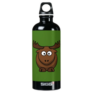 Funny Cartoon Moose with Green Background Water Bottle
