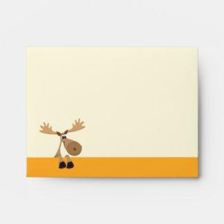 Funny cartoon moose - yellow envelope