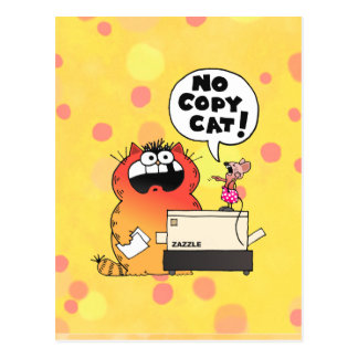 Funny Cartoon Mouse   Funny Mouse and Cat Postcard