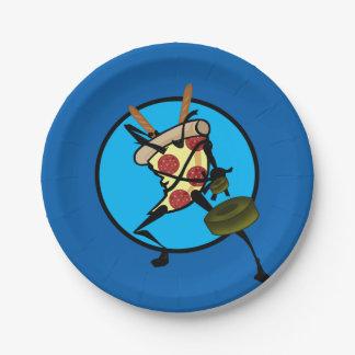 FUNNY CARTOON NINJA PIZZA GRAPHIC PAPER PLATES