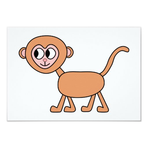 Funny Cartoon of a Monkey. 3.5x5 Paper Invitation Card