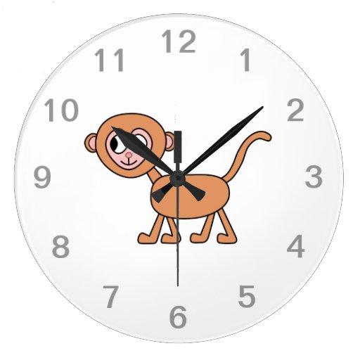 Funny Cartoon of a Monkey. Round Wallclocks