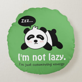 Funny Cartoon of Cute Sleeping Panda Round Pillow