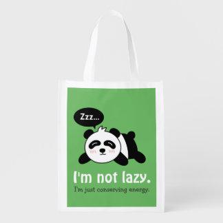 Funny Cartoon of Cute Sleeping Panda Market Tote