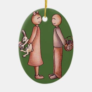 Funny Cartoon of Girl Giving Boy Easter Bunny Ceramic Ornament