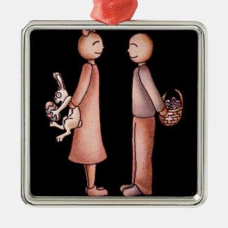 Funny Cartoon of Girl Giving Boy Easter Bunny Metal Ornament
