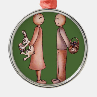 Funny Cartoon of Girl Giving Boy Easter Bunny Metal Ornament
