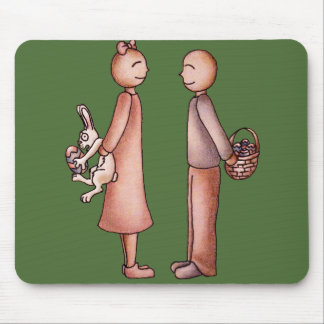 Funny Cartoon of Girl Giving Boy Easter Bunny Mouse Pad