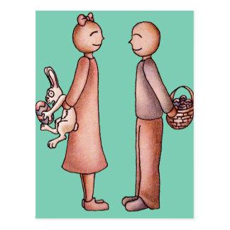 Funny Cartoon of Girl Giving Boy Easter Bunny Postcard